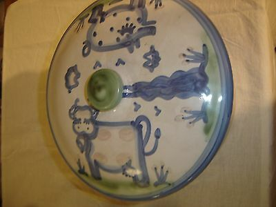 """M. A. Hadley 11 1/2""""  Covered Bowl w/ Cow and a Pig  8490"""
