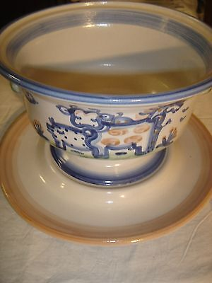"""M.A. Hadley 11 1/2""""  Punch Bowl (Tureen) & Liner  w/ Cow, Pig &  House 8492"""