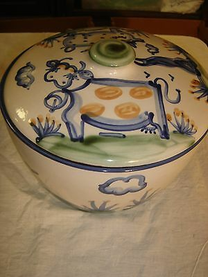 """M. A. Hadley 10 3/4"""" Covered Bowl w/ Cow and a Pig Lid  & Clouds & Flowers 8493"""
