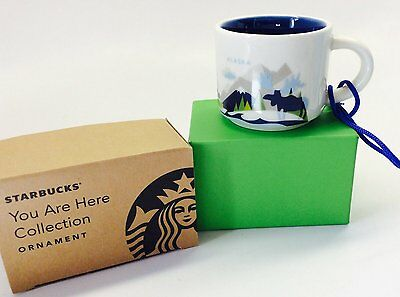"Starbucks Alaska ""You are here"" City Mug 2oz New in Box Ornament Espresso Cup"