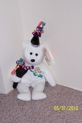 NEW YEAR 2006 WHITE Ty Beanie Baby MINT WITH MINT TAGS