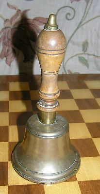 Vintage School Hand Bell Brass and Turned Wood