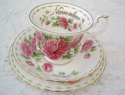 Vintage Royal Albert Flower Of The Month Series Trio –November –Chrysanthemum.