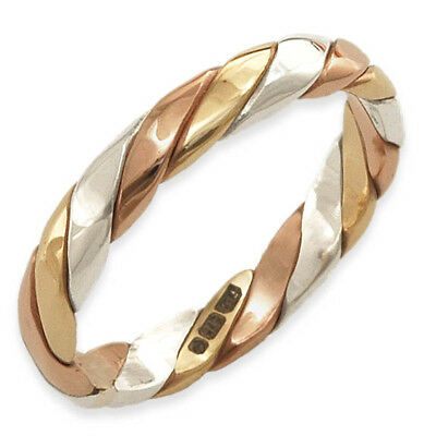 Handmade 9ct Yellow, White, Rose Gold Tri Colour Twisted Stacker Band Ring