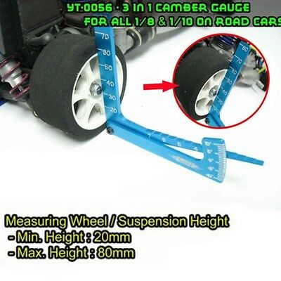 RC 1/8 1/10 Car Set Up Tool chassis Suspension Wheel Camber Ride Height Guage E