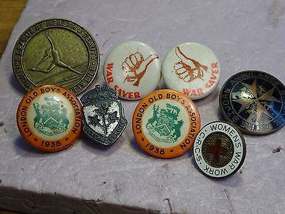 service Pins  eight old pins from WWII + St Johns ambulance  exc - NM