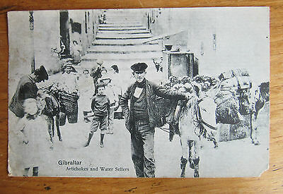 Old Postcard Gibraltar 'Artichokes & Water Sellers' Post Due Written Posted 1924