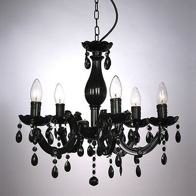 Vintage Style Black Marie Therese 5 Way Ceiling Pendant Light Jewel Chandelier