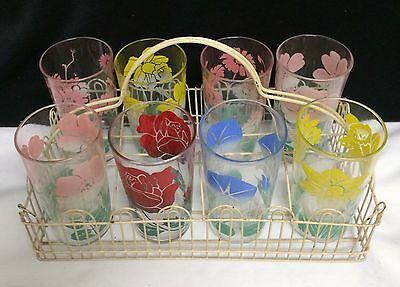 Cottage Chic Swanky Swig Flower Glass Tumbler Set Chippy Wire Drink Carrier