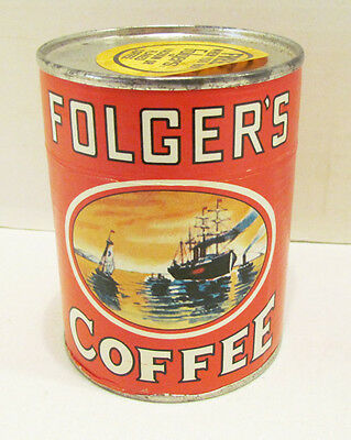 FOLGER'S COFFEE VINTAGE 1970's COFFEE CAN CANISTER JIGSAW PUZZLE PREMIUM SEALED!