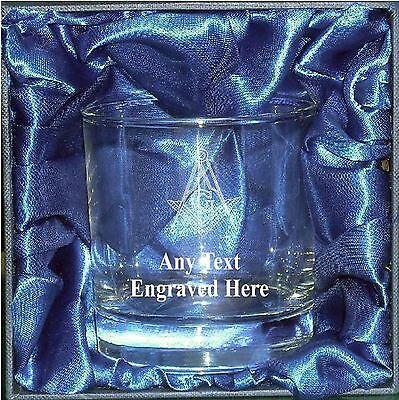 Engraved Masonic Whisky Mixer Glass Wg7 In Silk Lined Gift Box