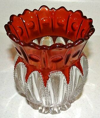 Very Fine EAPG Ruby Stain Flash Open Spooner THE PRIZE McKee Antique Glass 1901