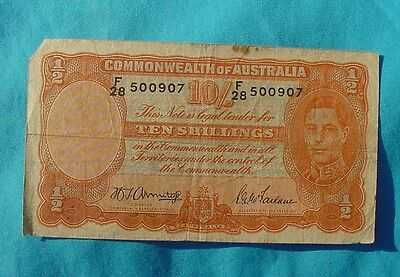 Wwii Australian 10 Shilling Cash Note Bill Paper Money