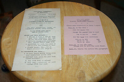 Old Vintage 1955 Claiming Unemployment Application Paper Booklet Document Wis WI