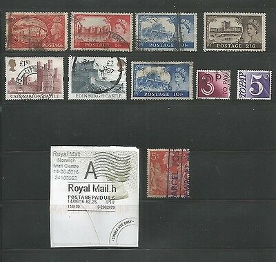 12 Used Great Britain Stamps