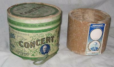"""Edison """"Concert"""" 5 Inch Diameter Cylinder Record, Brown Wax, with Original Box"""