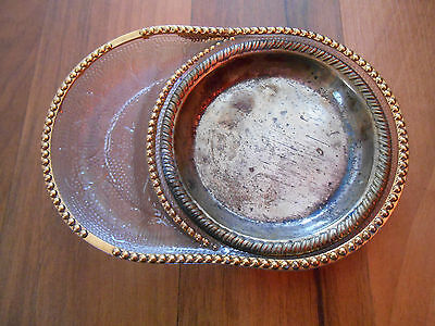 Old Vintage Jeanette Harp Depression Glass Ashtray w/ Metal Tray Coaster Crystal