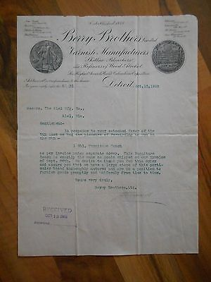 Antique 1903 Berry Brothers Varnish Manufacturers Detroit Michigan Letter Paper