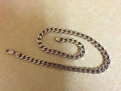 """Solid Silver 925 (chunky) Curb 8mm 18.5"""" chain necklace NOT PLATED"""