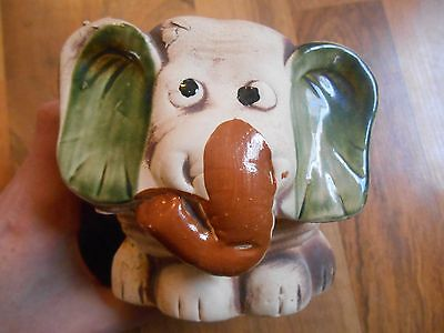 Old Vintage Planter Elephant Face Head Wild Animal Home Decor Decorative Pottery