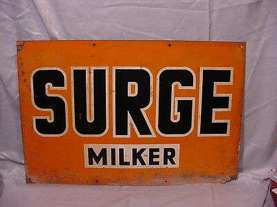 Large, Very OLD Metal Sign for SURGE MILKER Agriculture Farm Dairy Display!