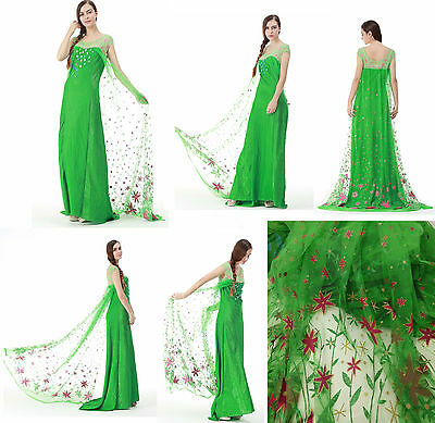 Disney Frozen Elsa Verde Fever Costume Vestito Carnevale Cosplay Donna Princess