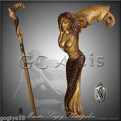 Amazing Art Handmade Walking Stick Cane Woodcarved Handle Hiking Staff Mermaid