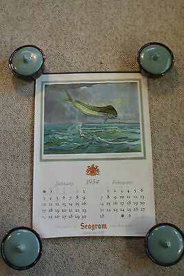 Old Vintage Seagram's Calendar 1954 Collection House of Seagram Fish Animal Art