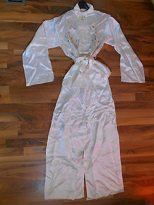 Old Vintage Womens Ladies Asian Outfit Silk / Satin Like Off White Birds Flowers