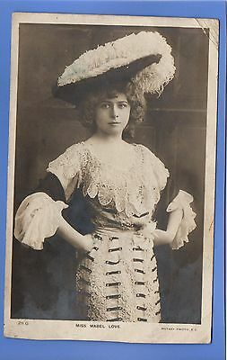 RARE 1905c MABEL LOVE ACTRESS STAGE FEATHER HAT & LACE DRESS RP PHOTO POSTCARD