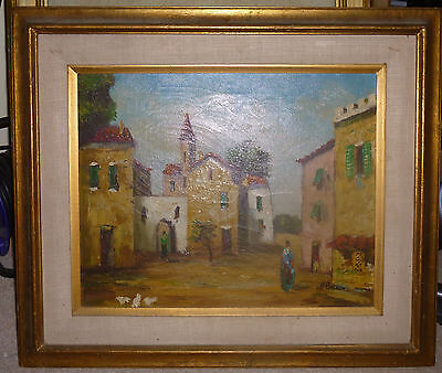 Oil on canvas painting. Mexican street scene(?) signed H Basmon. framed