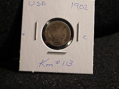 United States:  1902   Barber 10 Cent  Coin  (Circ.)    (#181)  Km # 113