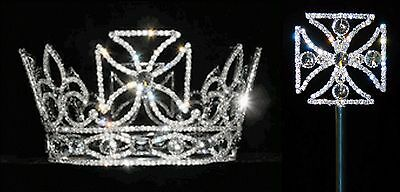 Scepter AND Pageant Royal King's Crown - Silver Plated with Crystal Rhinestones