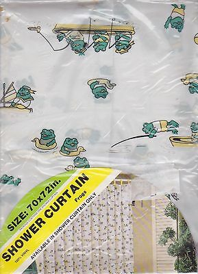 Vintage GREEN FROGS Design Vinyl Shower Curtain  New in Package