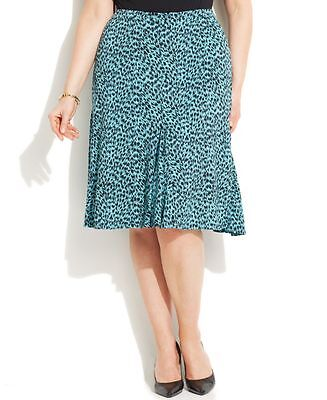 MICHAEL KORS $89 NEW Womens Blue Animal Print 5668 Pleated A Line Skirt Plus 1X