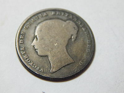 1846 UK  Sterling Silver Shilling Coin  -  Queen Victoria
