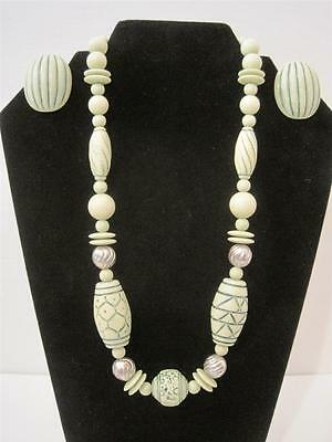 Vintage Chunky Carved Barrel Round & Disk  Bead Necklace Earrings Set