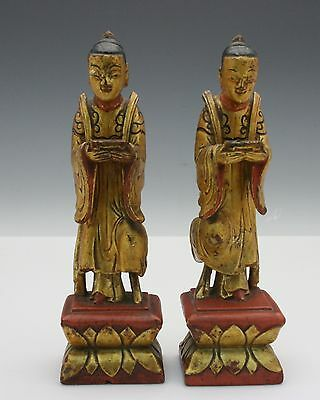 Pair Asian Carved Gilt Wood Figures of Scholars 19th / 20th Century