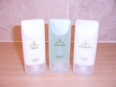 """INSPIRED BY NATURE"" 3 x FULL TRAVEL TOILETRIES - SHAMPOO - CONDITIONER - LOTION"