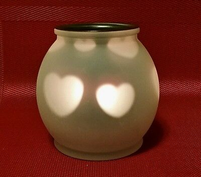 PartyLite Beating Heart Tealight Holder P7975 Frosted Globe