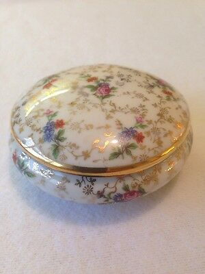 Limoges Circular Lidded Trinket Box In Gold And Floral.