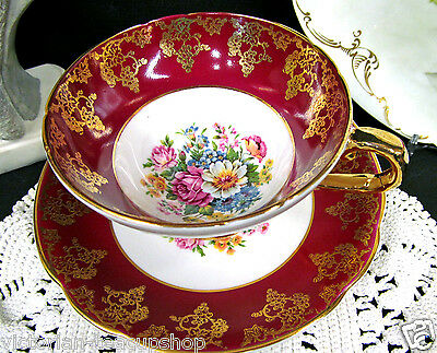 Stanley Tea Cup And Saucer Red & Gold Gilt Painted Flowers  Pattern Teacup