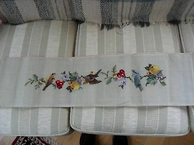 "Vintage Needlepoint Canvas. Pre -worked Petit Point Birds Fruit.36 x 9""."