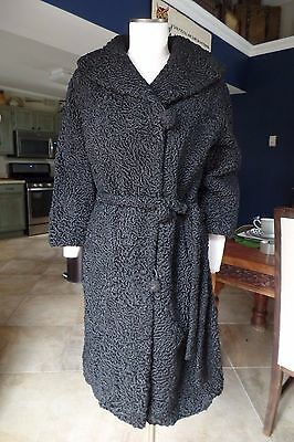 Vintage THE HALLE BROS. CO Black Persian Lamb Real Fur Belted Coat S/M