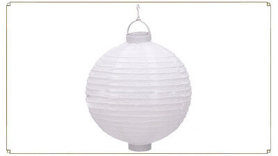 NEW White 8'' 20cm Chinese LED Light Paper Lantern Hanging Wedding Party