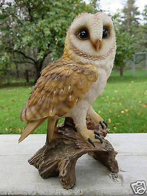 "7.25"" Barn Owl Figurine On Tree Stump  Hooter Statue Wise Old Owl"