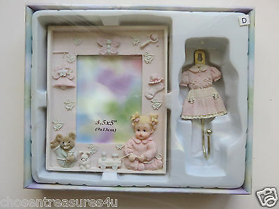 Baby Girl Gift Box Photo Frame 3.5X5 In. Resin And Hanger 2 Pce. New Sabre