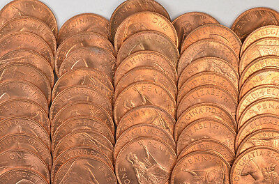 50 Great Britain Copper One Penny Coins !!! Amazing !!!