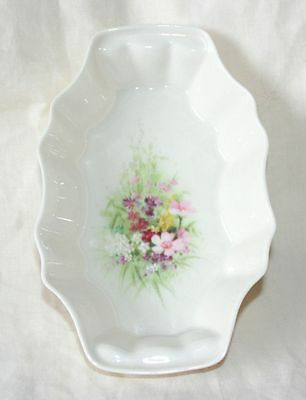 Donegal Parian China 'Wild Flowers' Pin Dish/Trinket Tray, Fluted Rim, Ex Cond