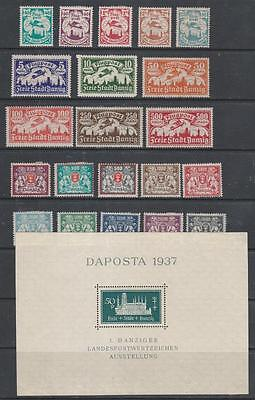 DANZIG - 21 x MH Stamps + 1 x M/Sheet,  1923-1937 Period